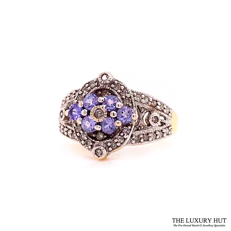 Shop 9CT Yellow Gold Diamond With Amethyst Stone Ring - Order Online Today for Next Day Delivery - Sell Your Jewellery to the Luxury Hut