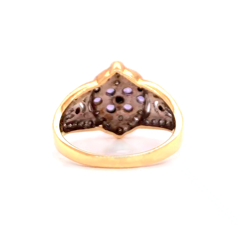 Shop 9CT Yellow Gold Diamond With Amethyst Stone Ring - Order Online Today