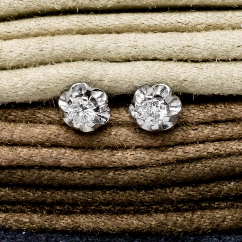 Shop 9CT White Gold Diamond Stud earring - Order Online Today for Next Day Delivery - Sell Your Diamond Jewellery