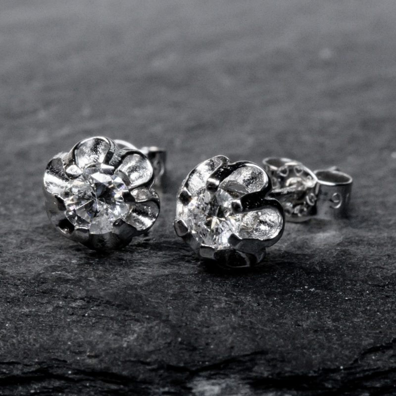 Shop 9CT White Gold Diamond Stud earring - Order Online Today for Next Day Delivery