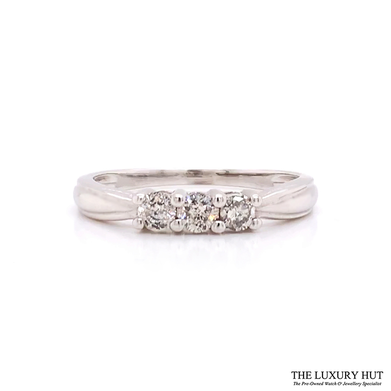 Shop 9CT White Gold Diamond Trilogy Rings - Order Online Today for Next Day Delivery - Sell Your Old Diamond Rings to The Luxury Hut Hatton Garden