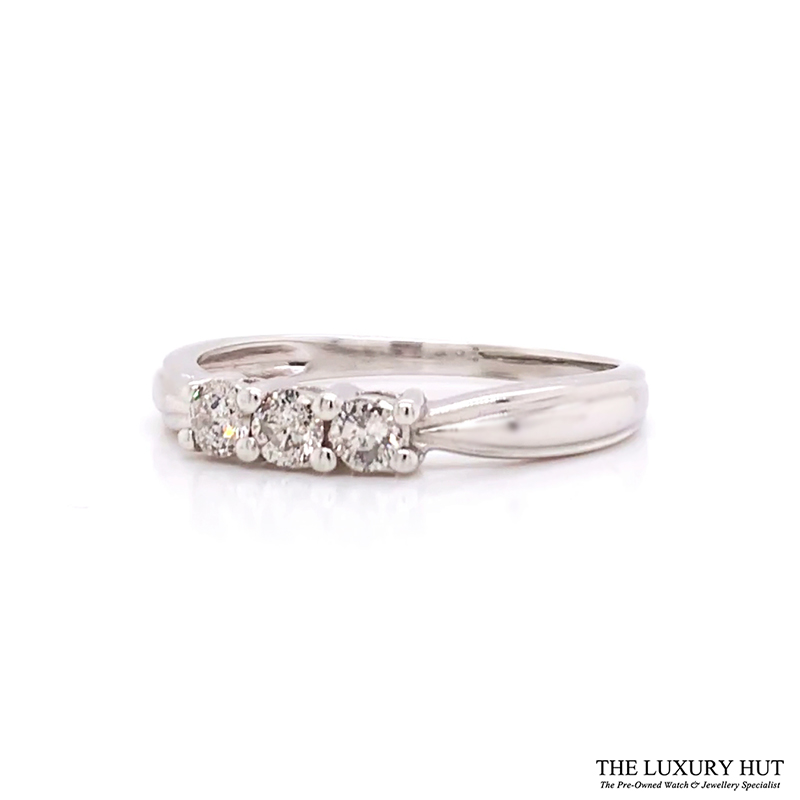 Shop 9CT White Gold Diamond Trilogy Rings - Order Online Today for Next Day Delivery - Sell Your Old Diamond Rings to The Luxury Hut