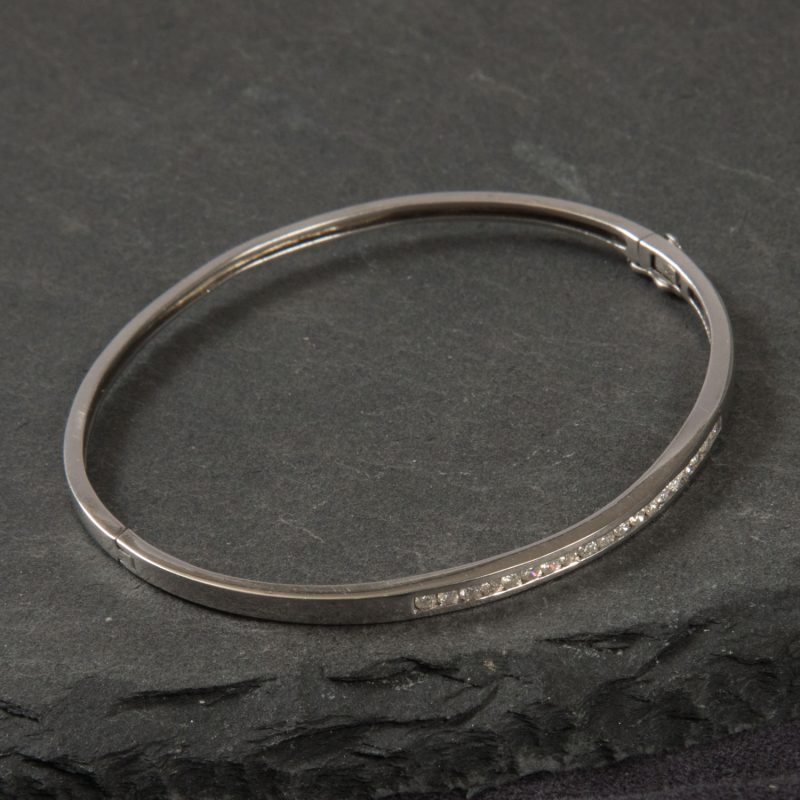 Shop 9CT White Gold .40CT Diamond Bangle - Order Online Today for Next Day Delivery - Sell Your Diamond Jewellery