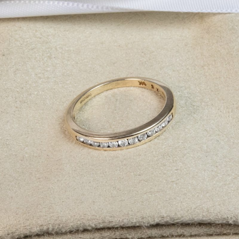 Shop Pre-Owned 9ct Gold Half Eternity Diamond Ring - Order Online Today for Next Day