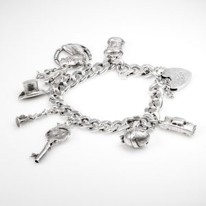 Shop Silver Curb Link Chain Bracelet with Charms - Order Online Today for Next Day Delivery - Sell Your Silver Jewellery