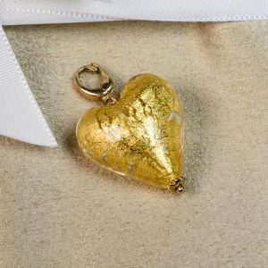 Shop crystal gold Murano Glass heart charm - Order Online Today for Next Day