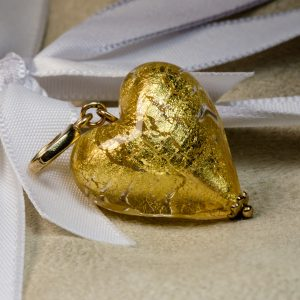 Shop crystal gold Murano Glass heart charm - Order Online Today for Next Day Delivery