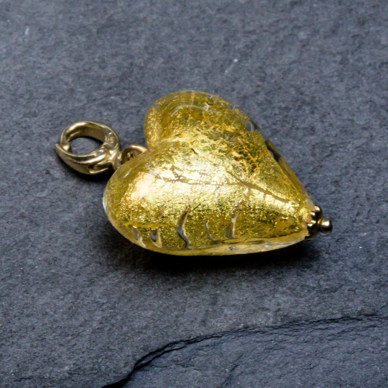 Shop crystal gold Murano Glass heart charm - Order Online Today