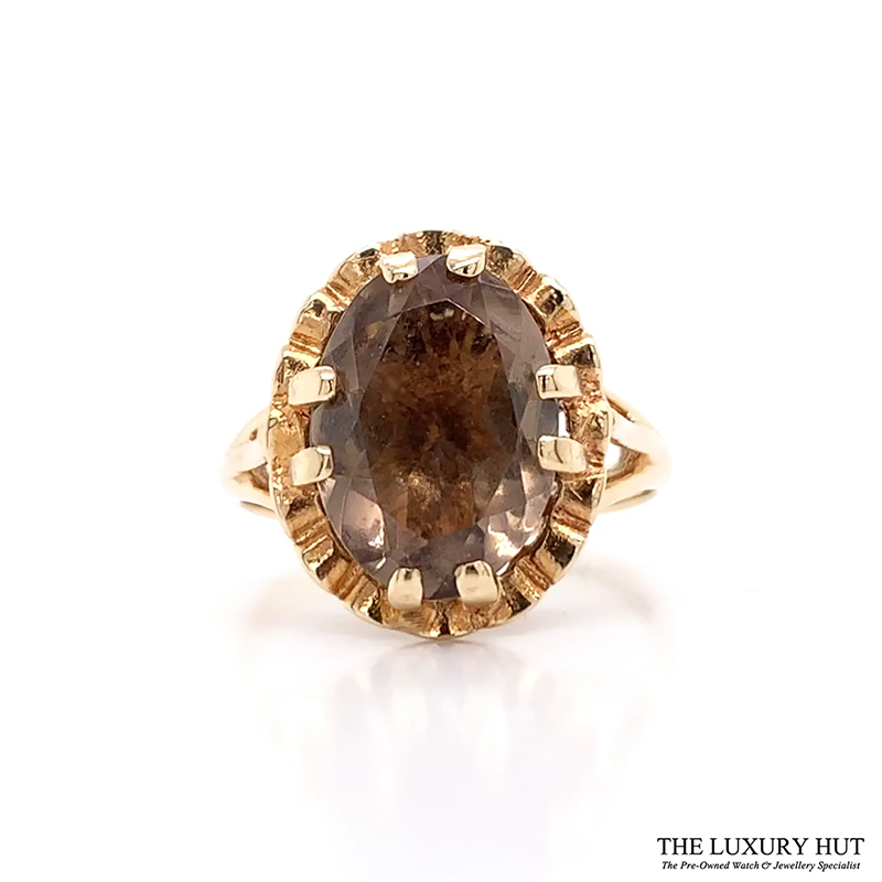 Shop 9ct Yellow Gold Smokey Quartz Ring - Order Online Today For Next Day Delivery - Sell Your Diamond Jewellery To The Luxury Hut London
