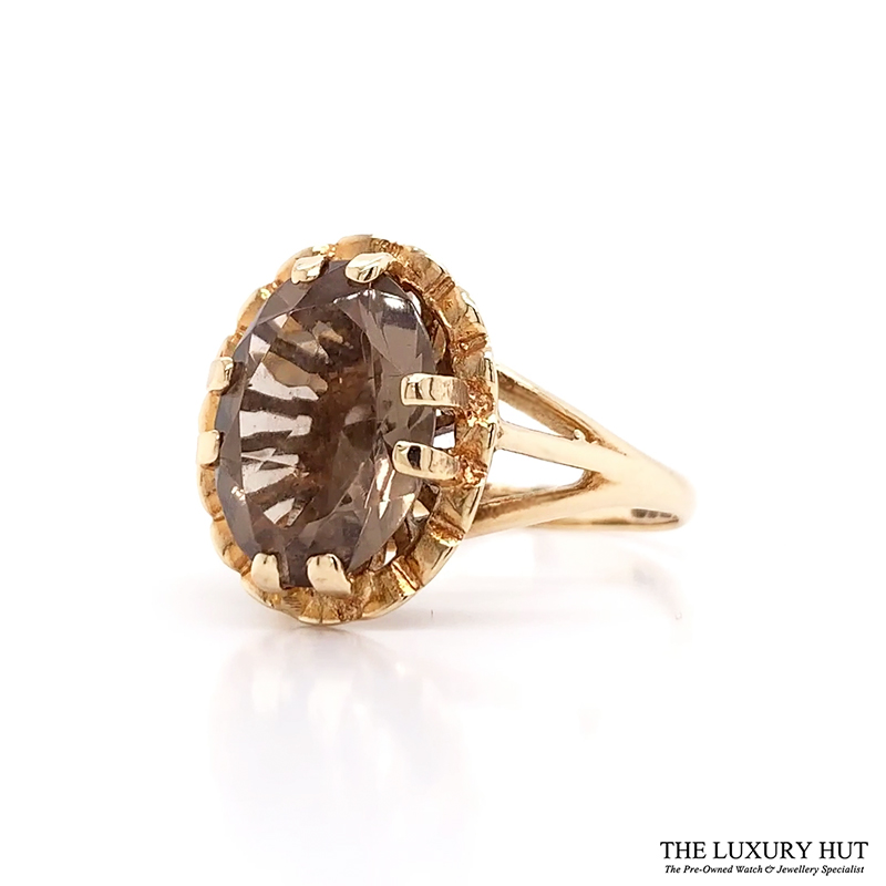 Shop 9ct Yellow Gold Smokey Quartz Ring - Order Online Today For Next Day Delivery - Sell Your Diamond Jewellery To The Luxury Hut