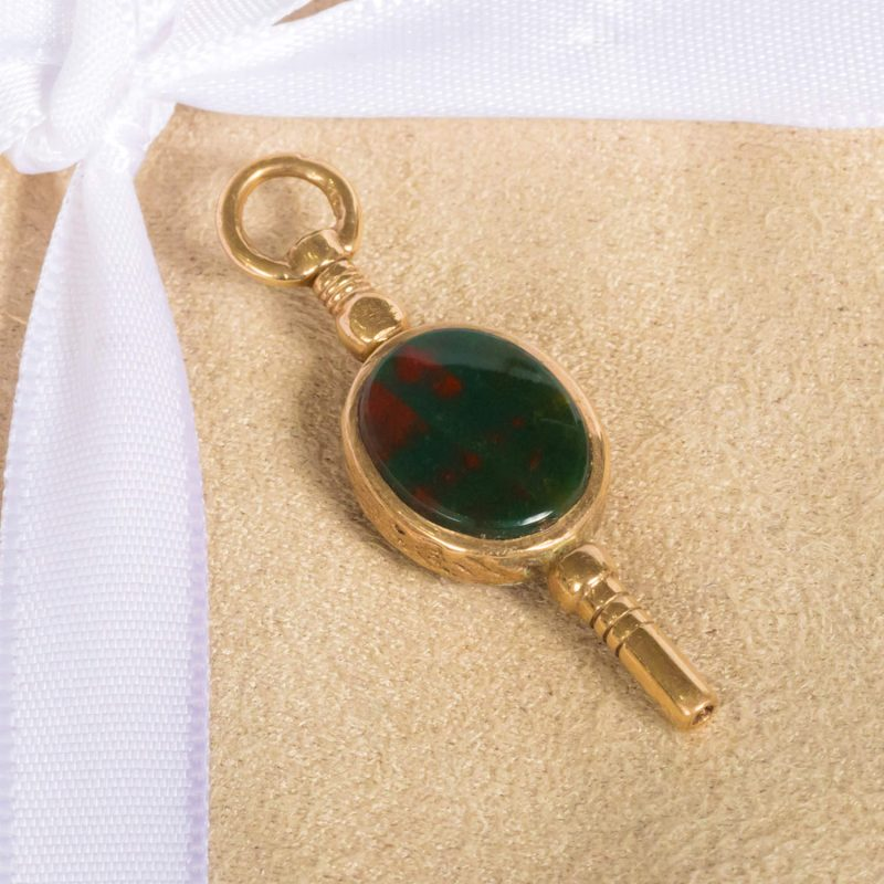 Shop 9ct Yellow Gold Cornelian & Bloodstone Key Charm / Pendant - Order Online Today For Next Day Delivery - Sell Your Jewellery To The Luxury Hut