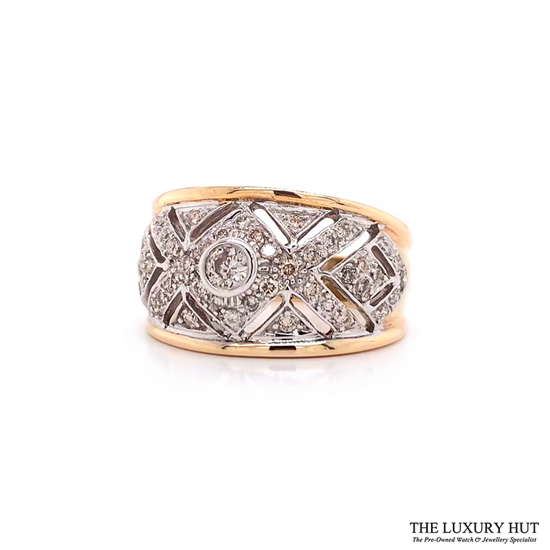 Shop 9ct White & Yellow Gold 0.70ct Diamond Band Ring - Order Online Today For Next Day Delivery - Sell Your Diamond Jewellery To The Luxury Hut