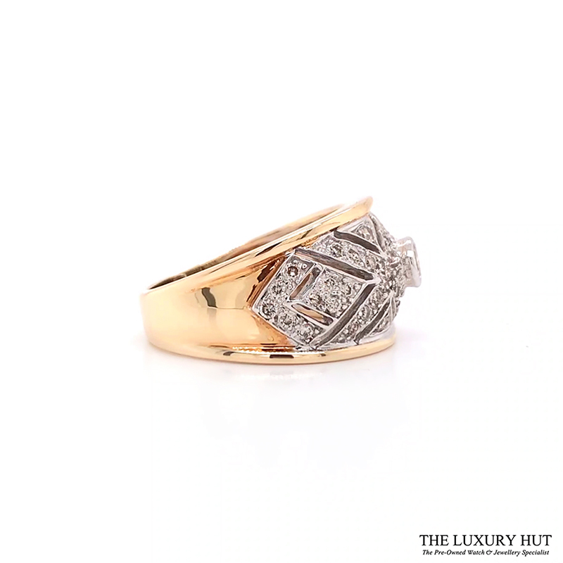 Shop 9ct White & Yellow Gold 0.70ct Diamond Band Ring - Order Online