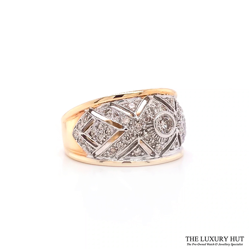 Shop 9ct White & Yellow Gold 0.70ct Diamond Band Ring - Order today