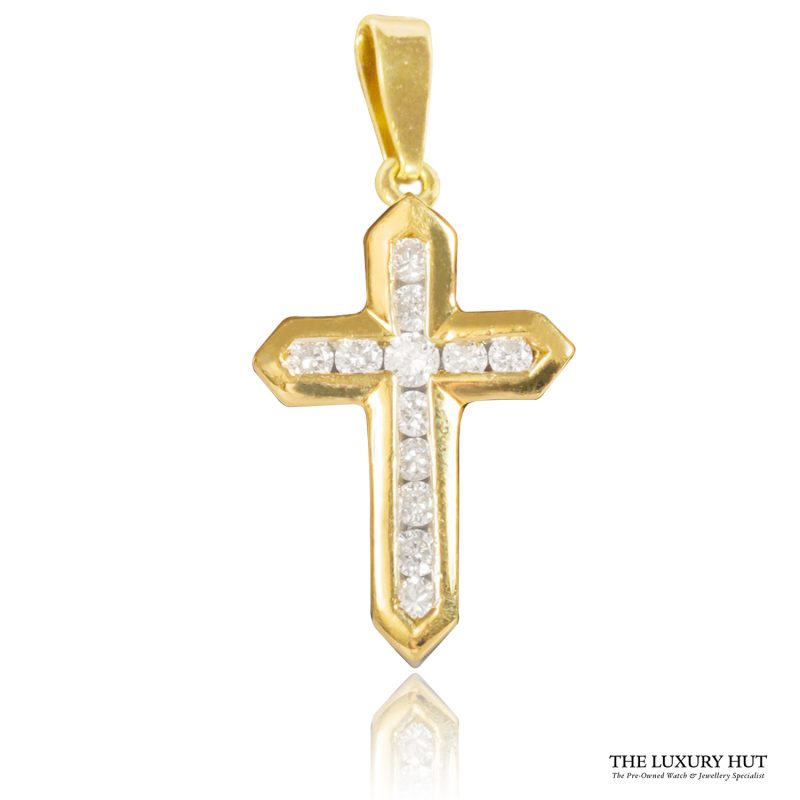 Shop 18ct Yellow Gold 0.25ct Certified Diamond Cross Pendant - Order Online Today For Next Day Delivery - Sell Your Diamond Jewellery To The Luxury Hut Hatton Garden