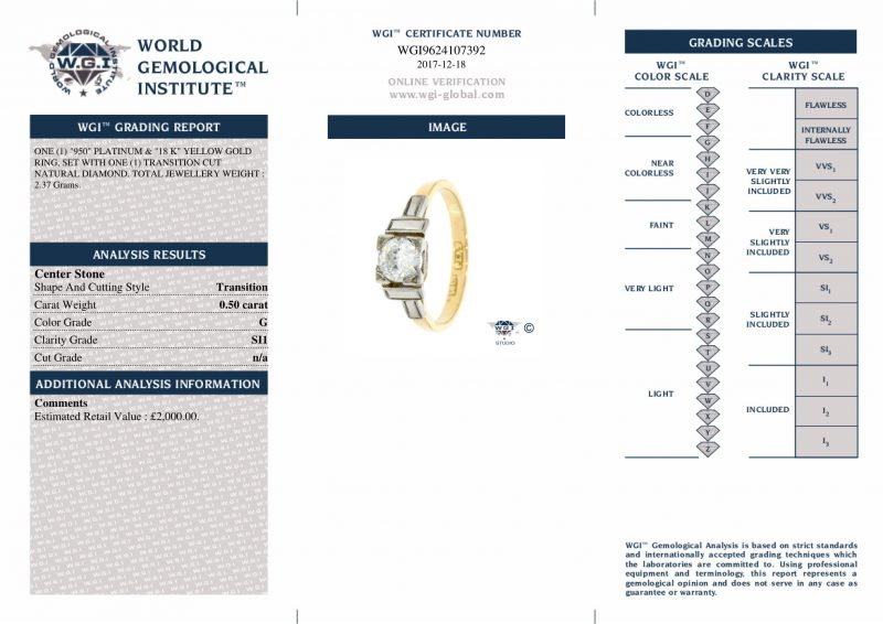 Shop 18ct Yellow Gold & Platinum 0.50ct Certified Diamond Solitaire Ring - Order Online Today