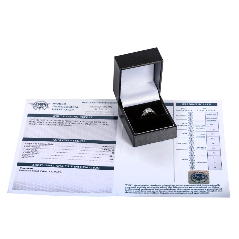 Shop 18ct Yellow Gold & Platinum 0.50ct Certified Diamond Solitaire Ring - Order Online Today For Next Day