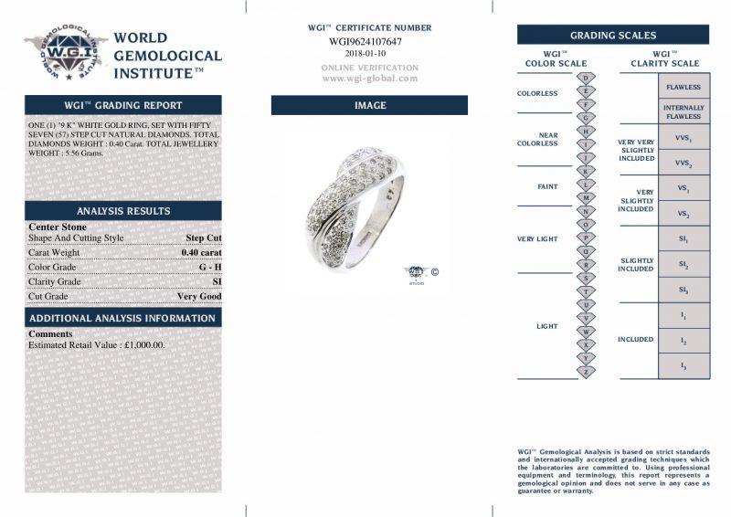 Shop 9ct White Gold 0.40ct Certified Diamond Band Ring