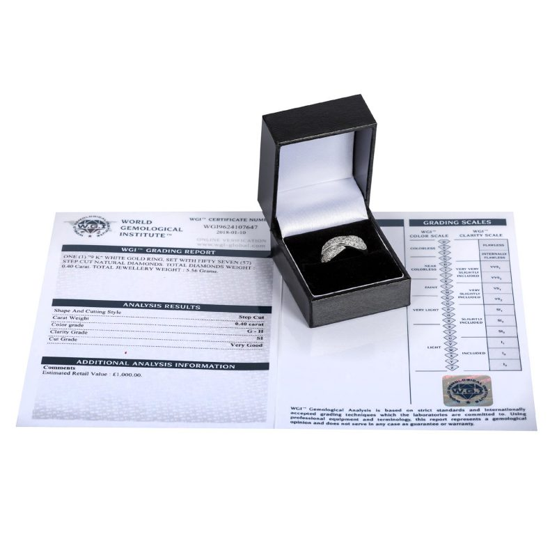 Shop 9ct White Gold 0.40ct Certified Diamond Band Ring - Order Online Today For Next Day Delivery