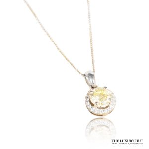 Shop 18ct White Gold 0.72ct Certified Light -Yellow Diamond Pendant - Order Online Today For Next Day Delivery - Sell Your Diamond Jewellery To The Luxury Hut