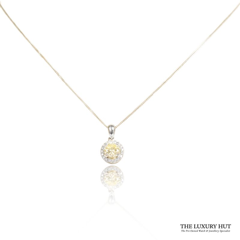 Shop 18ct White Gold 0.72ct Certified Light -Yellow Diamond Pendant - Order Online Today For Next Day Delivery - Sell Your Diamond Jewellery To The Luxury Hut Hatton Garden