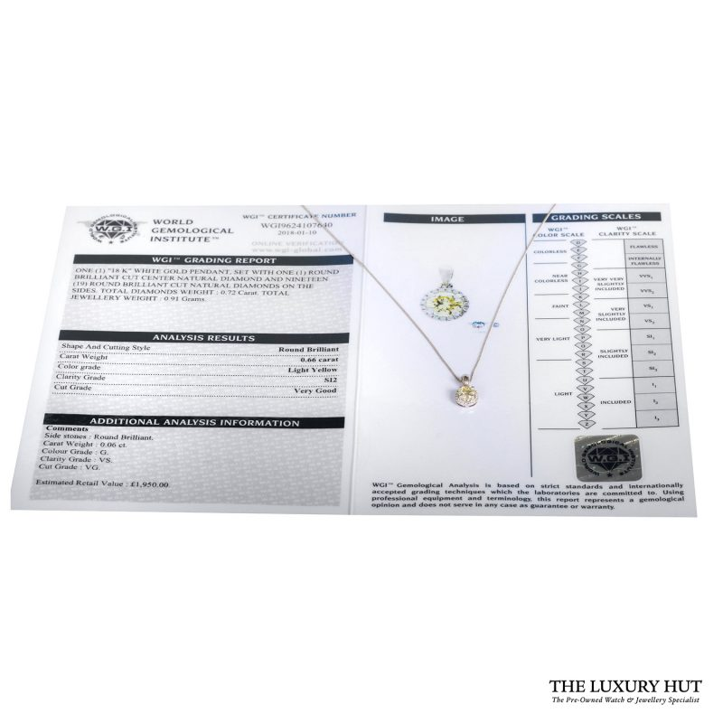 Shop 18ct White Gold 0.72ct Certified Light -Yellow Diamond Pendant - Order Online Today For Next Day Delivery - Sell Your Diamond Jewellery