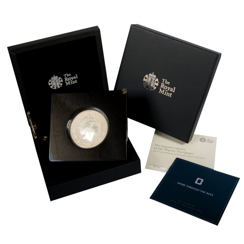 Shop 2017 Royal Mint Queen's Sapphire Jubilee £10 Silver Proof Coin - Order Online Today For Next Day Delivery - Sell Your Gold And Silver Coins To The Luxury Hut