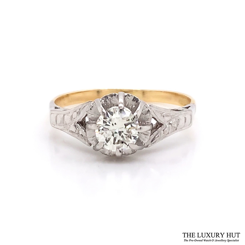 Shop 18ct White & Yellow Gold 0.57ct Diamond Ring - Order Online Today For Next Day Delivery - Sell Your Diamond Rings To The Luxury Hut Hatton Garden