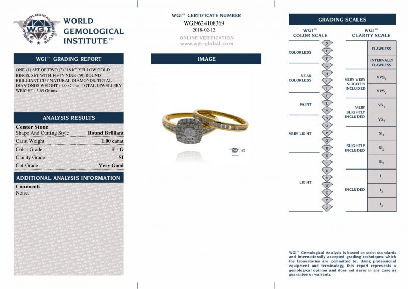Shop 18ct Yellow Gold 1.00ct Diamond Ring Set - Order Online Today For Next Day Delivery