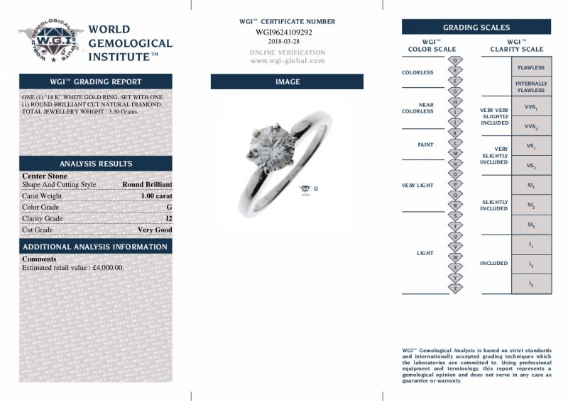 Shop 18ct White Gold & 1.00ct Diamond Engagement Ring - Order Online Today For Next Day Delivery