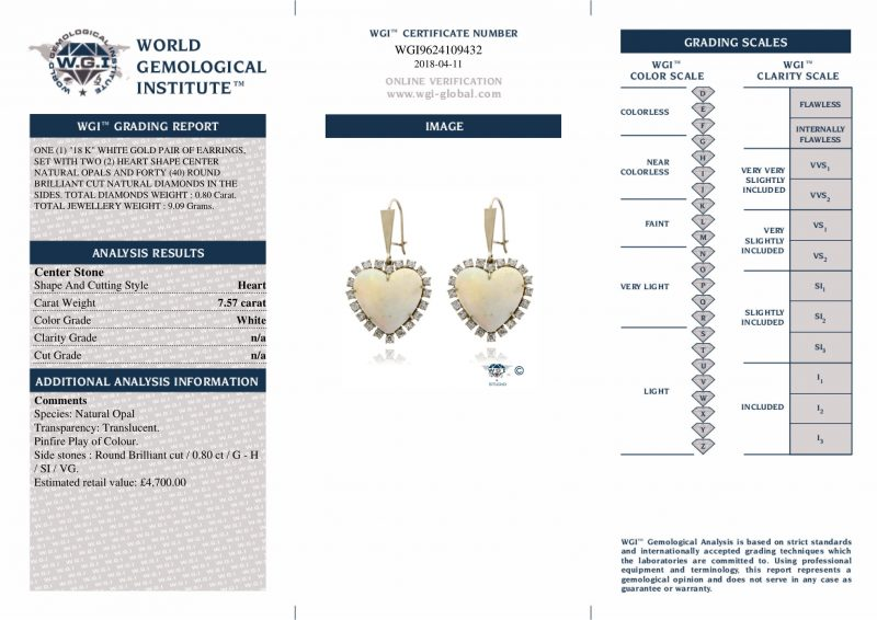Shop 18ct White Gold Diamond & Opal Earrings Pair - Order Online Today