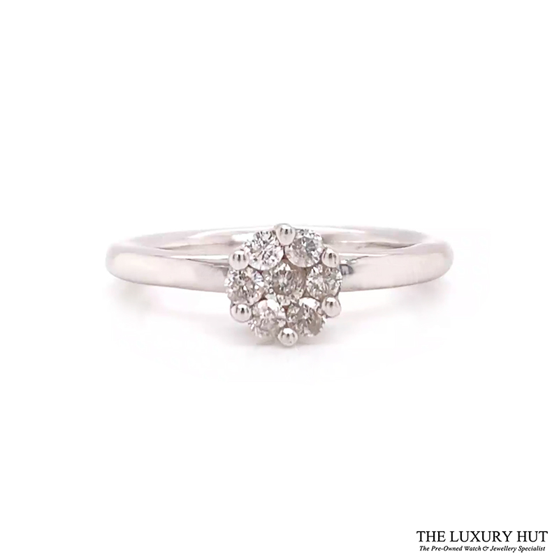 Shop 9ct White Gold 0.25ct Diamond Cluster Ring - Order Online Today For Next Day