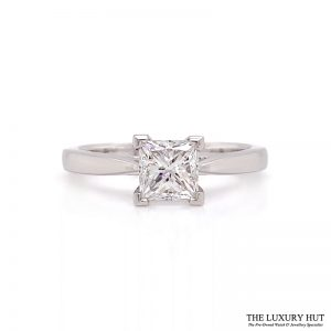 Platinum 0.91Ct Princess Cut Diamond Solitaire Ring- Order Online Today For Next Day Delivery