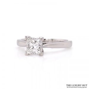 Platinum 0.91Ct Princess Cut Diamond Solitaire Ring- Order Online