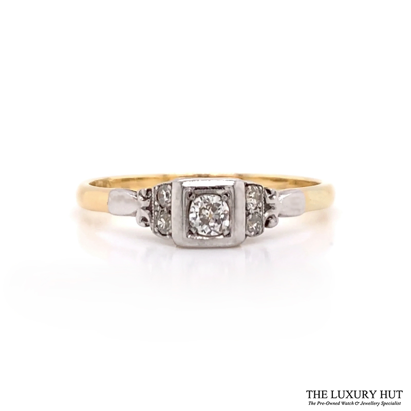18ct Yellow Gold And Platinum Diamond Solitaire Vintage Ring - Order Online Today For Next Day Delivery
