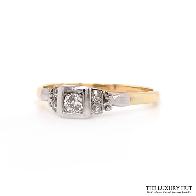 18ct Yellow Gold And Platinum Diamond Solitaire Vintage Ring - Order Online Today For Next Day