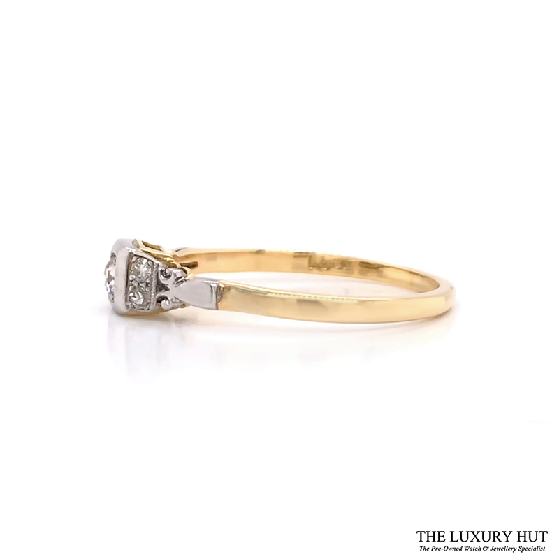 18ct Yellow Gold And Platinum Diamond Solitaire Vintage Ring - Order Online