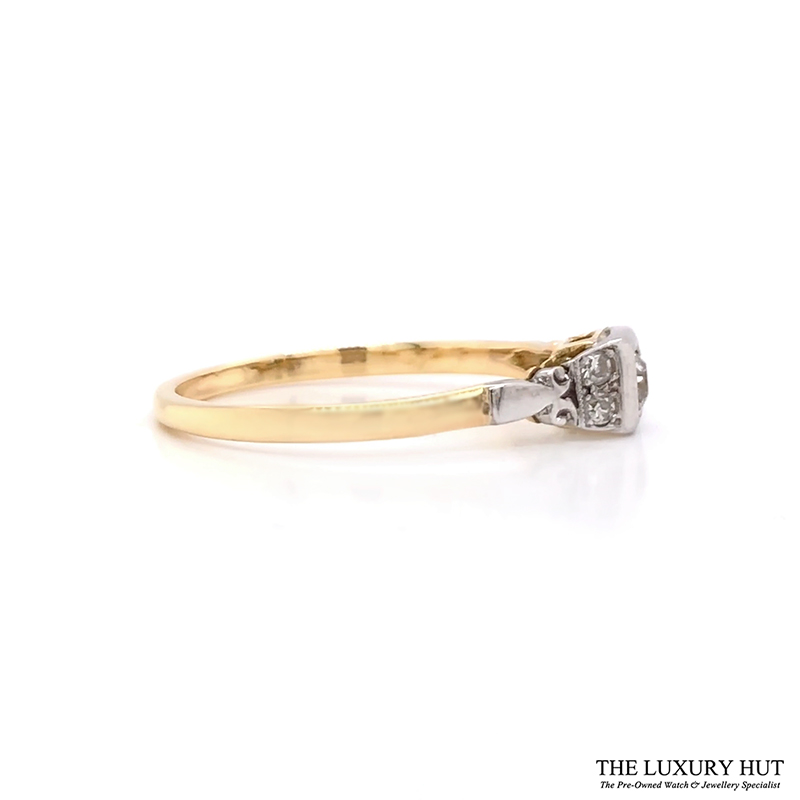 18ct Yellow Gold And Platinum Diamond Solitaire Vintage Ring - Order