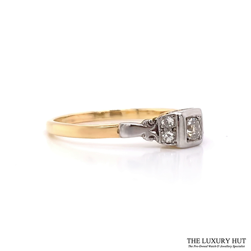 18ct Yellow Gold And Platinum Diamond Solitaire Vintage Ring