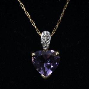 9ct Yellow Gold Amethyst With Diamond Pendant - Order Online Today