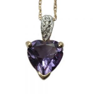9ct Yellow Gold Amethyst With Diamond Pendant - Order Online Today For Next Day Delivery