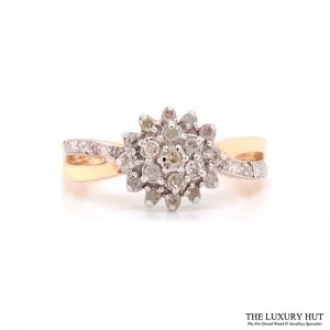 9Ct White & Yellow Gold 0.25Ct Diamond Cluster Ring - Order Online Today For Next Day Delivery