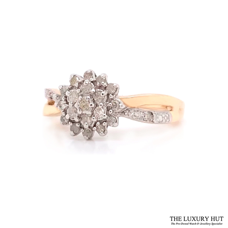 9Ct White & Yellow Gold 0.25Ct Diamond Cluster Ring - Order Online Today For Next Day