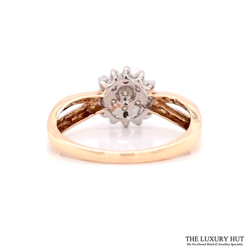 9Ct White & Yellow Gold 0.25Ct Diamond Cluster Ring