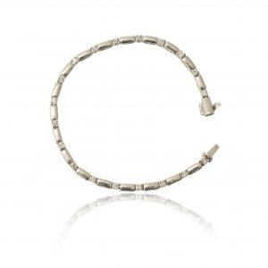 9Ct White Gold 1.00Ct Certified Diamond Bar Link Bracelet - Order Online Today For Next Day Delivery