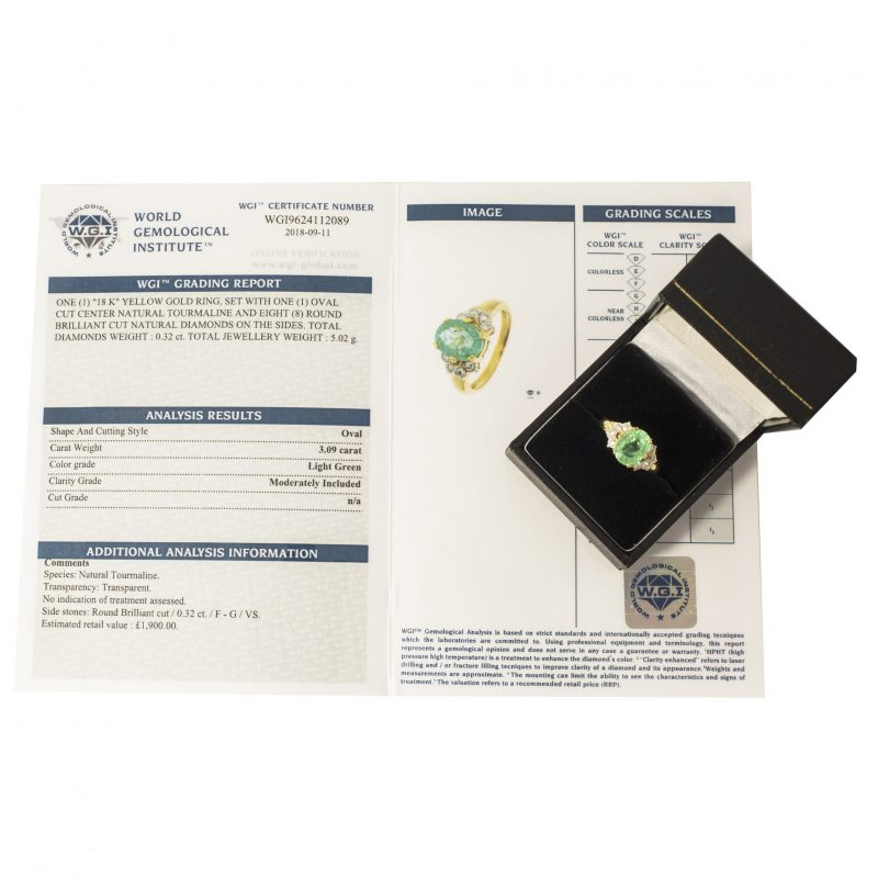 18Ct Yellow Gold 3.09Ct Tourmaline & Diamond Ring - Order Online Today Delivery