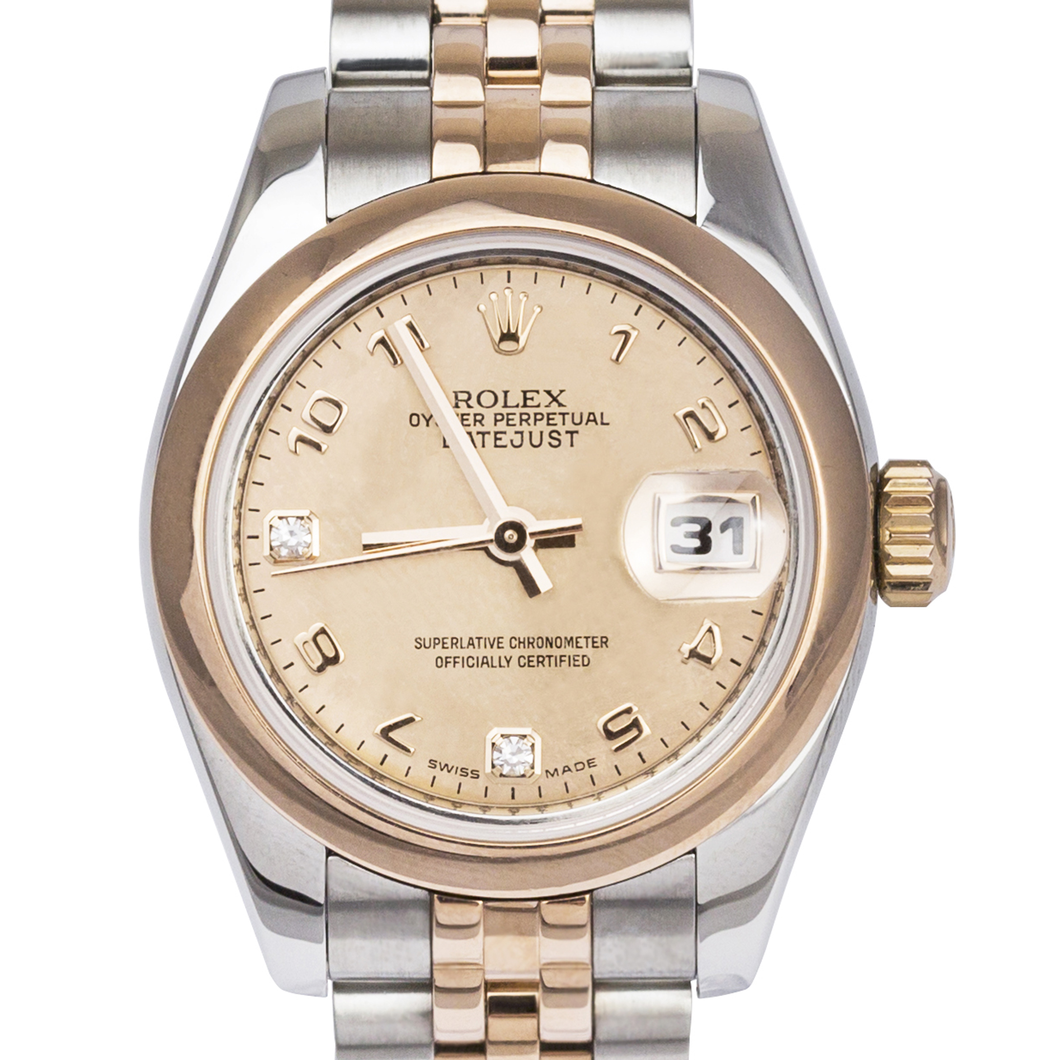 ROLEX LADIES ROSE BI-METAL OYSTER DATEJUST DIAMOND...