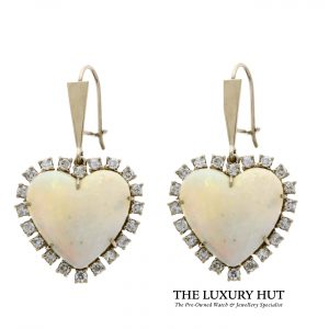 Shop 18ct White Gold Diamond & Opal Earrings Pair - Order Online Today For Next Day Delivery