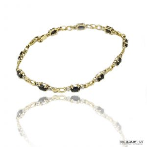 Shop 9ct Yellow Gold Sapphires & Diamond Bracelet – Order Online Today For Next Day Delivery