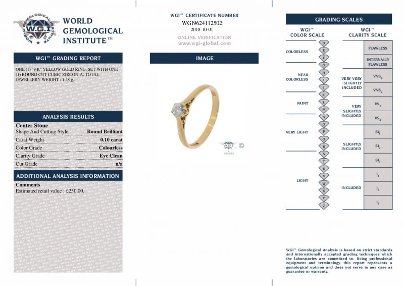 Shop 9ct Yellow Gold 0.10ct Cubic Zirconia Engagement Ring – Order